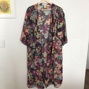 Lularoe Sheer Black 60s Flower Floral Kimono M